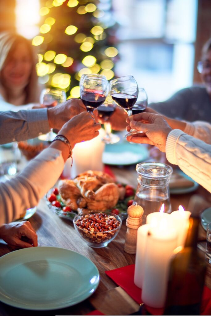 People connecting for wine and dinner